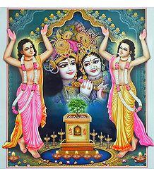 Nitai Gaur in Front of Radha Krishna - Poster