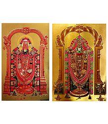 Lord Venkateshwara - Set of 2 Golden Metallic Paper Poster