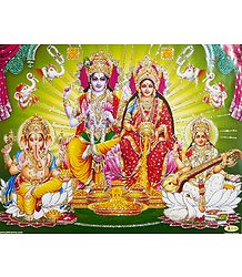 Vishnu and Lakshmi with  Saraswati and Ganesha - Glitter Poster