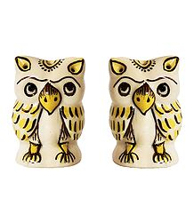 Set of 2 Ceramic Owl Incense Burner with 5 Holes