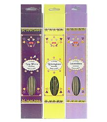 Set of Three Incense Sticks Packets with Nag Flora, Lemongrass and Lavender Fragrances