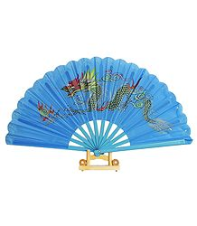 Hand Painted Dragon on Blue Silk Folding Fan with Stand