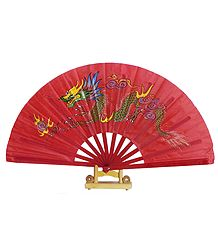 Hand Painted Dragon on Red Silk Folding Fan with Stand