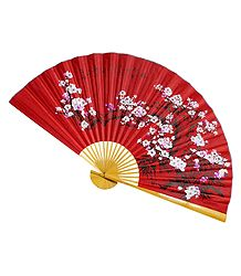 Floral Painted Red Silk Cloth Wall Hanging Fan