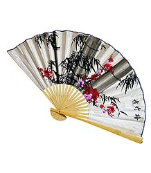 Painted Flowers on White Silk Cloth Wall Hanging Fan