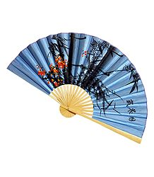 Painted Flowers on Blue Silk Cloth Wall Hanging Fan