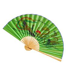 Painted Dragons on Green Silk Cloth Wall Hanging Fan