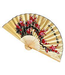 Painted Flowers on Beige Silk Cloth Wall Hanging Fan