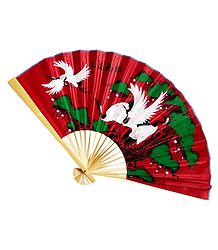 Painted Cranes on Red Silk Cloth Fan - Wall Hanging