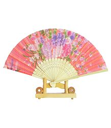 Floral Print on Saffron Silk Folding Fan with Stand