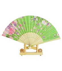 Floral Print on Green Silk Cloth Folding Fan with Stand