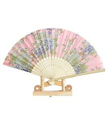 Floral Print on Pink Silk Cloth Folding Fan with Stand