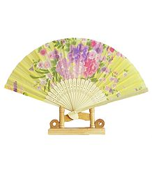 Floral Print on Yellow Silk Cloth Folding Fan with Stand