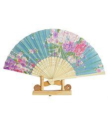 Cyan Silk Cloth Folding Fan