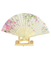 White Silk Cloth Folding Fan