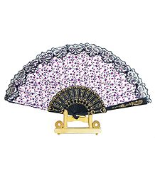 Floral Print on White Cotton Folding Fan with Stand