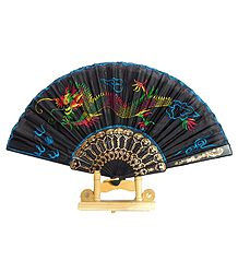 Embroidered Dragon on Black Silk Folding Fan with Stand