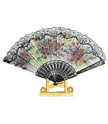 Off-White Silk Folding Fan
