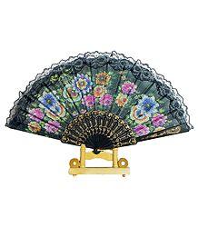Black Silk Folding Fan