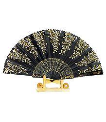 Black Silk Cloth Folding Fan