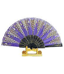 Mauve Silk Cloth Folding Fan