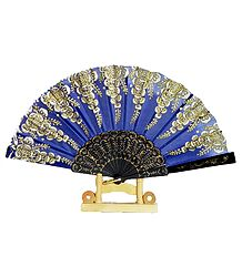 Glitter Design on Blue Silk Folding Fan with Stand