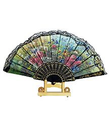 Floral Print on Multicolor Silk Folding Fan with Stand