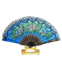 Floral Print on Blue Silk Folding Fan with Stand