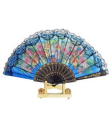 Blue Silk Folding Fan