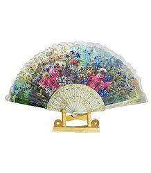 Floral Print on Silk Folding Fan