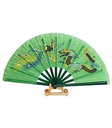 Battle of Chinese Dragon and Bird on Green Silk Folding Fan with Stand