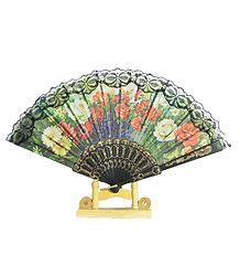 Green Silk Folding Fan