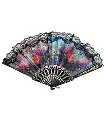 Floral Print on Black Cloth Fan - Wall Hanging