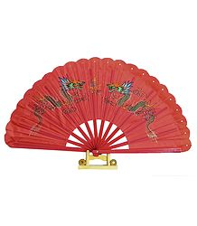 Pair of Painted Chinese Dragon on Red Silk Folding Fan with Stand