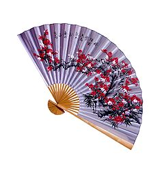 Painted Flower on Mauve Silk Cloth Wall Hanging Fan