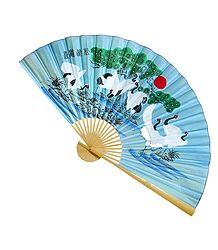Painted Storks on Blue Silk Cloth Wall Hanging Fan