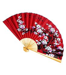 Painted Flowers on Red Silk Cloth Wall Hanging Fan
