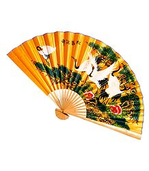 Painted Cranes on Yellow Silk Cloth Wall Hanging Fan