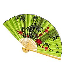 Painted Flowers on Green Silk Cloth Wall Hanging Fan