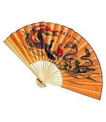Dragons on Saffron Silk Cloth Fan - Wall Hanging