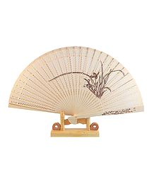 Hand Painted Wood Carved Folding Fan with Stand