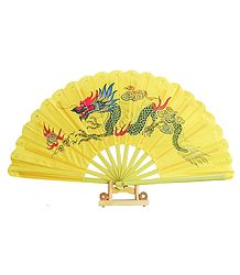 Hand Painted Dragon on Yellow Silk Folding Fan with Stand