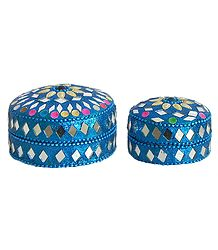Set of Two Decorated Round Metal Blue Jewelry Box