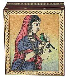 Princess with Parrot - Gemstone Painting