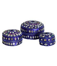 Set of Three Decorated Round Metal Purple Jewelry Box