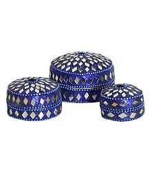 Set of Three Decorated Round Metal Blue Jewelry Box