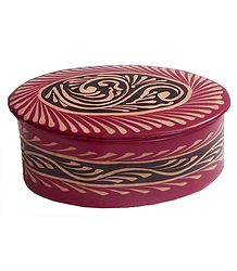Embossed Leather Oval Jewelry Box