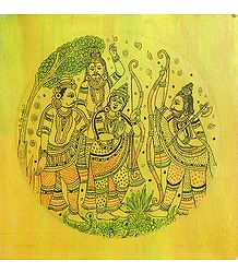 Ram, Vashishth with Parashuram - Kalamkari Painting on Canvas