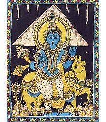 Krishna Lifting Govardhan Mountain