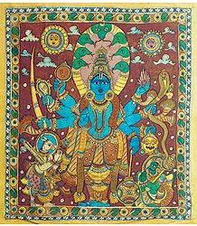 Eight Handed Vishnu - Kalamkari Paintings on Cloth